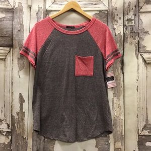 Tops - NWT COLOR BLOCK STRIPE SLEEVE POCKET TEE
